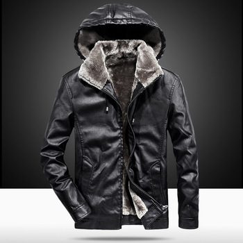 Leather fashion leisure men's leisure PU leather jacket students hooded jacket