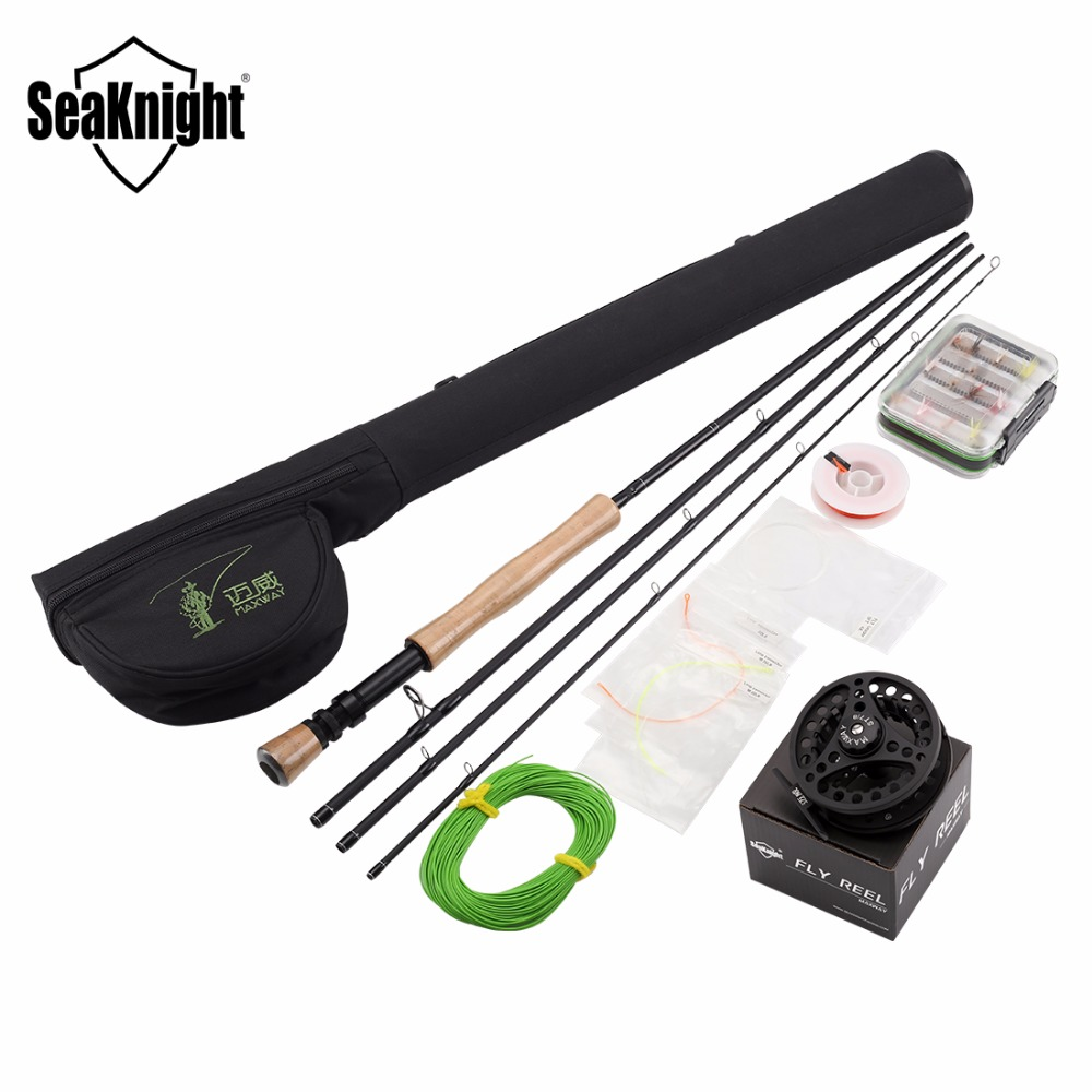 SeaKnight MAXWAY Fly Rod Combo Classic 7/8# 2.7M Fast 30T Carbon Rod 77cm Rod Bag Full Metal 3BB Fly Reel Fly Fishing Tackle Set