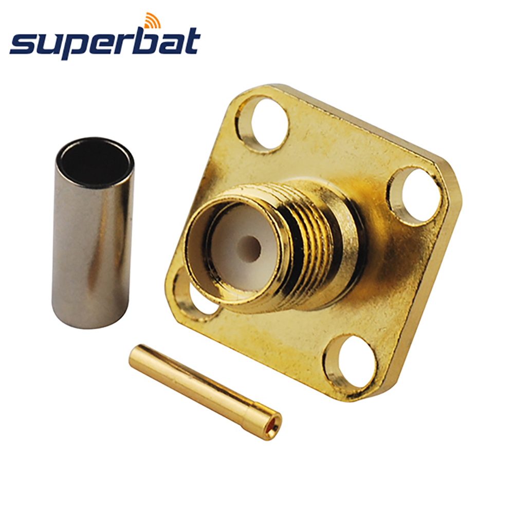 Superbat SMA Crimp Jack Flange RF Coaxial Connector for RG316 RG174 LMR100 Cable Straight