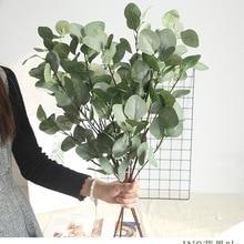 Ipek yaprak okaliptüs yapay yeşil yaprakları düğün dekorasyon için DIY çelenk Scrapbooking Craft elma bitkileri sahte çiçek