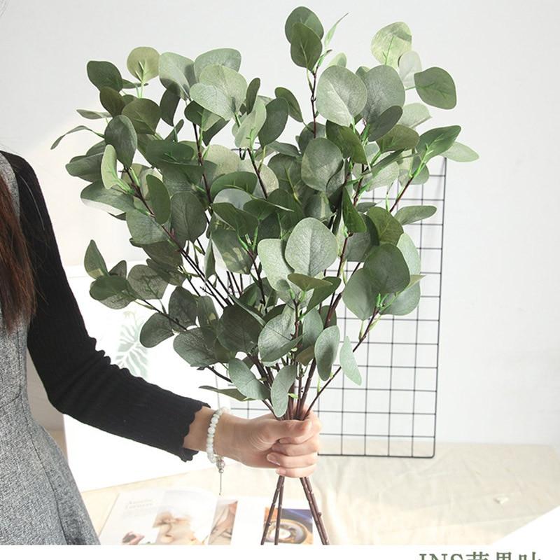 Silk Leaf Eucalyptus Artificial green Leaves For Wedding Decoration DIY Wreath Gift Scrapbooking Craft Apple Plants Fake Flower(China)