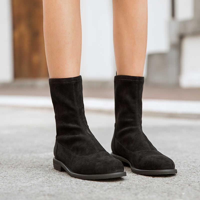 BeauToday Ayak Bileği Çorap Kadın Streç Kumaş Bandı En Kaliteli Yuvarlak Ayak Sonbahar Kış Bayan Ayakkabı El Yapımı 03099
