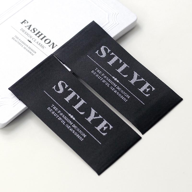 Customized bids satin brocade woven standard flat surface elevation collar made of tightly woven standard label woven label