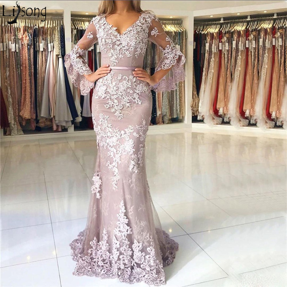 2019 New Fashion Lace Mermaid   Prom     Dresses   V Neck Long Sleeves Backless Elegant Formal   Dress   Evening Wear Vestidos de fiesta