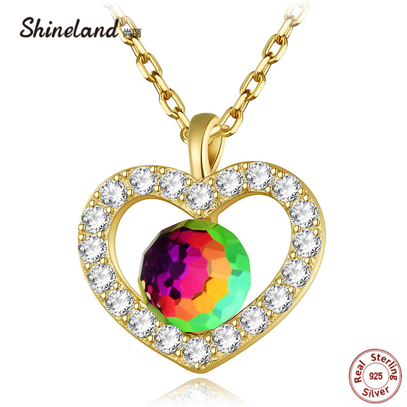 Shineland Love Heart Shiny Zircon Genuine 925 Sterling Silver Colorful Crystal Hollow Necklaces Pendants Collier Women Bijoux image