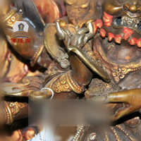 Nepal high grade copper and gold The custodian of the six arm mahath strong figure of Buddha Large dark
