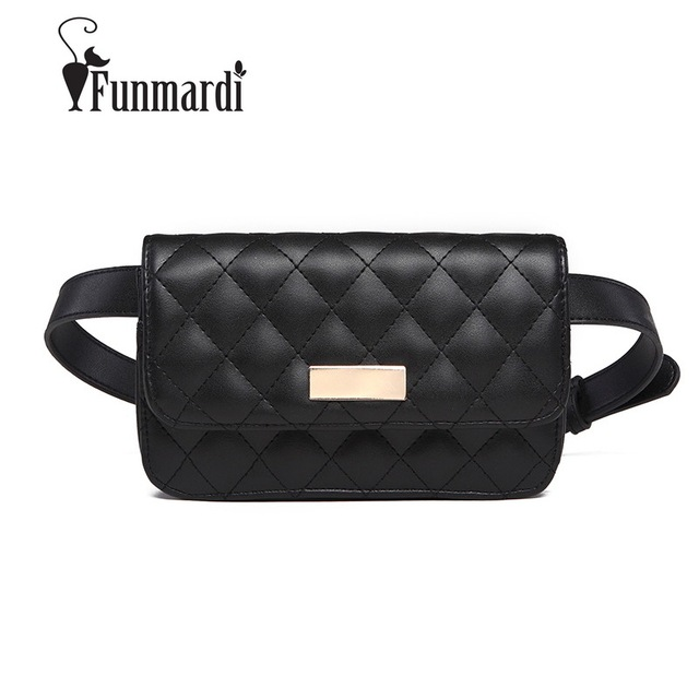 FUNMARDI High Quality Fashion Fanny Packs Classic PU Leather Women Bags Luxury Brand Belt Bags Famous Brand Ladies Bags WLAM0215