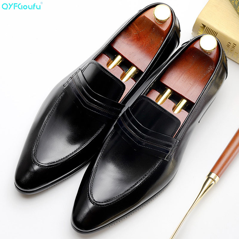 2019 High Quality Luxury Italian Brand Dress Shoes Men Slip On Office Shoes Pointed Toe Formal Shoes Mens Wedding Shoe in Formal Shoes from Shoes
