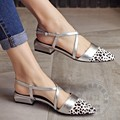 Zapatos de Las Señoras de Cuero de Grano completo de Cemento De Guepardo Para Mujer Zapatos Planos de Cuero Suave Adornado Correa Cruzada Originalidad de Tiras