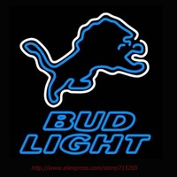 Bud Light Detroit Lions Neon Sign Handcrafted Neon Bulbs Real Glass Tube Recreation Room Decorat Garage