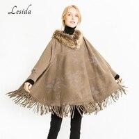 LESIDA Luxury Women Wool Scarf Solid Color Hedging Loose Tassel Shawls Stoles Poncho Feminino Inverno