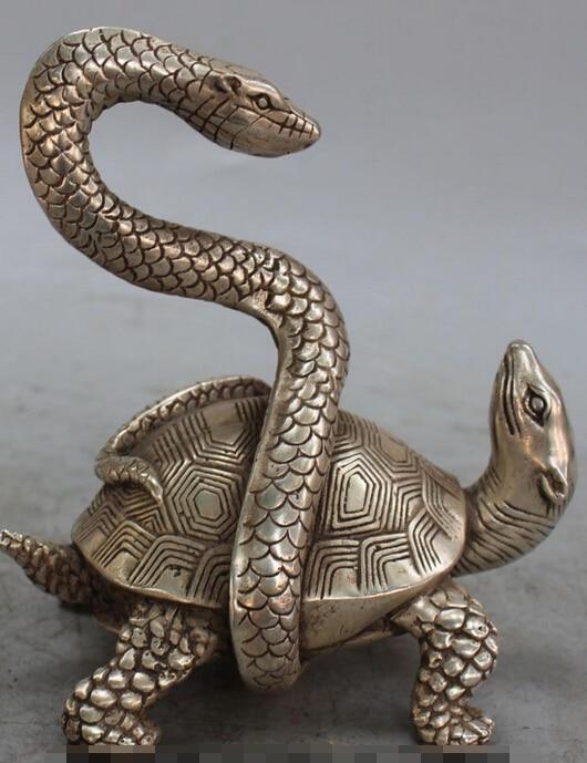 6 Chinese China Silver Fengshui Taoists God Beast Dragon tortoise Snake Statue S0708 B04036 Chinese China Silver Fengshui Taoists God Beast Dragon tortoise Snake Statue S0708 B0403