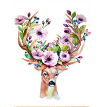 5D DIY diamond painting triptych dream deer horn flower  full drill square round embroidery cross stitch mosaic picture