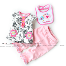 НОВЫЕ дети мода набор цветок с коротким рукавом Футболки + брюки + биб Детские девушки одежда набор новорожденного bebe одежда набор
