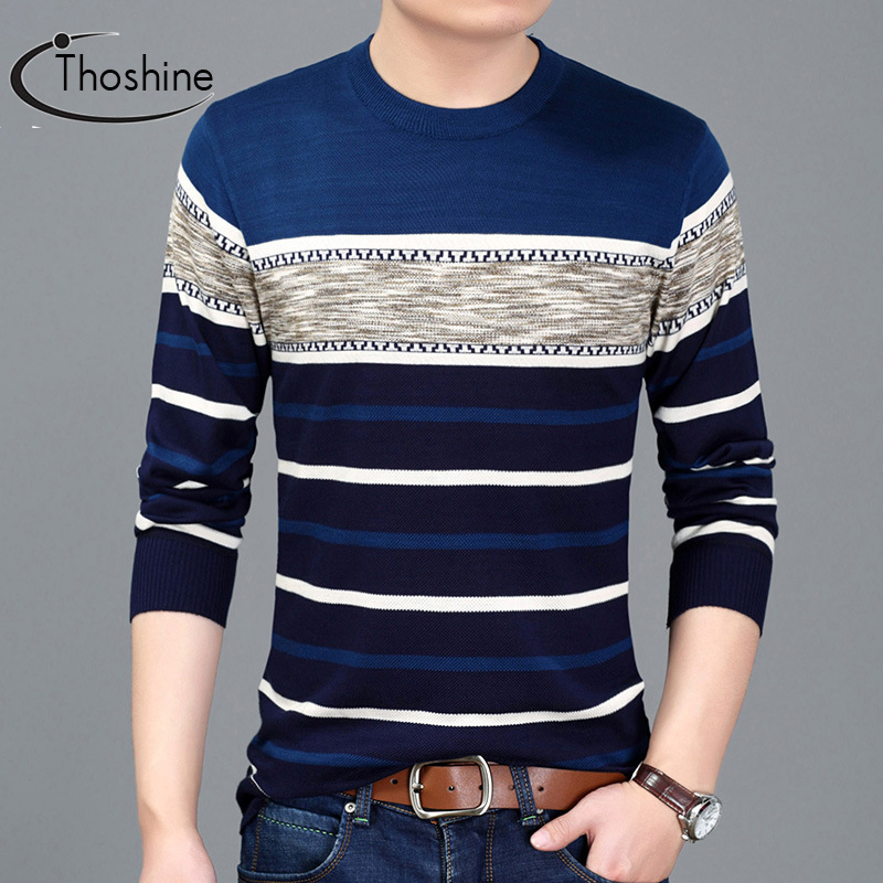 Thoshine Brand Spring Autumn Style Men Knitted Thin Sweaters Striped Long Casual Wool Pullovers Male Fashion Knitting Outerwear