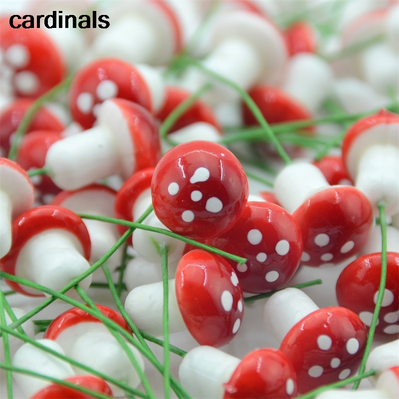 10Pcs 1.5cm Mini Foam Mushroom Fungus Artificial Plant Flowers Kids Painted DIY Craft Home Party Wreath Holiday Decoration