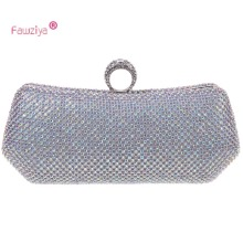 Fawziya Clutch Bag Gold Satin Bling Ring Clutch Purse Women Rhinestone Clutch Evening Bag