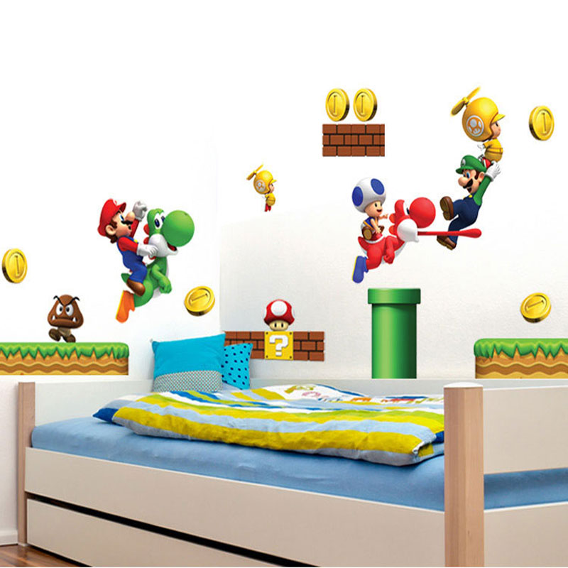 Cartoon Stickers Super Mario Wall Stickers For Kids Rooms Children ...