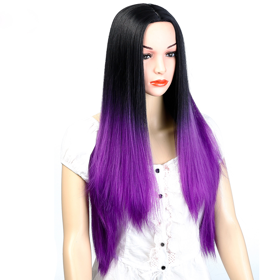 AOSIWIG Ombre Black Purple Long Straight Wigs Syntetisk Hår - Syntetiskt hår - Foto 3