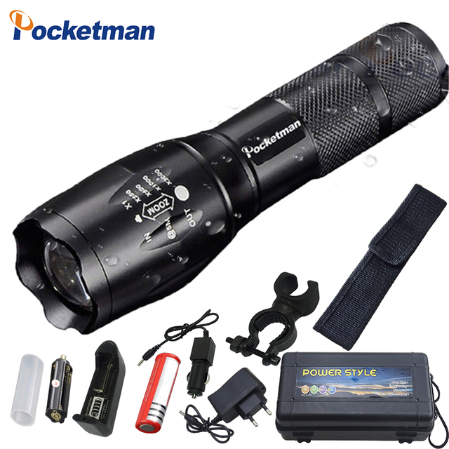 Super Bright  XM L T6 L2 XP L LED Flashlight Rechargeable Zoomable Linternas Torch Light by 1*18650 or 3*AAA Lamp Hand Light z50