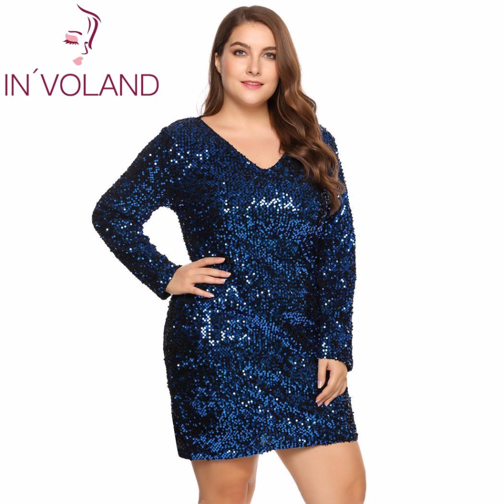 IN'VOLAND Large <font><b>Size</b></font> XS-5XL Women Party <font><b>Dress</b></font> <font><b>Sexy</b></font> Sequined Bodycon Cocktail Club Sheath Loose <font><b>Big</b></font> Ladies <font><b>Dresses</b></font> Plus Oversized image