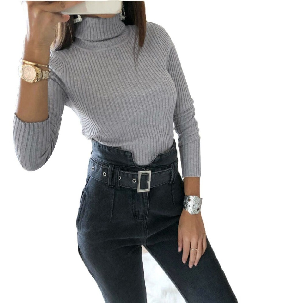 New Spring Skinny Bodysuit Women 2018 Jumpsuits Long Sleeve Winter Knitted Bodysuits Tops Sexy Turtleneck Body Femme Bodycon