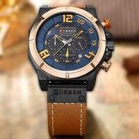 CURREN Top Brand Chronograph Quartz Watches Men Sport Fashion Casual Watch For Men Leather Wristwatches Relogio