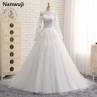 Free veil robe de mariage White Ivory us2.4.6.8.10.12.plus Size Wedding Dress With Long Sleeve Muslim vestido De noiva 2016