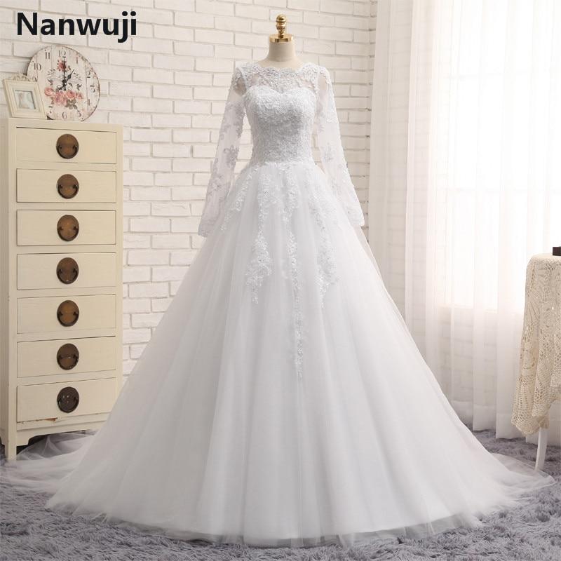 Ingyenes fátyol robe de mariage White Ivory us2.4.6.8.10.12.plus Méret Esküvői ruha hosszú ujjú muszlim vestido De noiva 2016