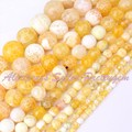 "Round Fire Agate Craceked Yellow Gem Stone Beads Strand 15""6,8,10,12,14mm For Necklace Bracelet Jewelry Making,Free Shipping"