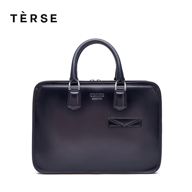 TERSE 2018 NEW Handbag 100% Genuine Leather Laptop with Straps For MEN Versatile Briefcase Hand Bag Customize Logo 9559 Hot Sell