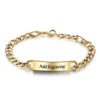 Vinnie Design Jewelry Personalized Custom Engrave Name Bracelet Stainless Steel Bar Cuff Bracelets Gold Color ID