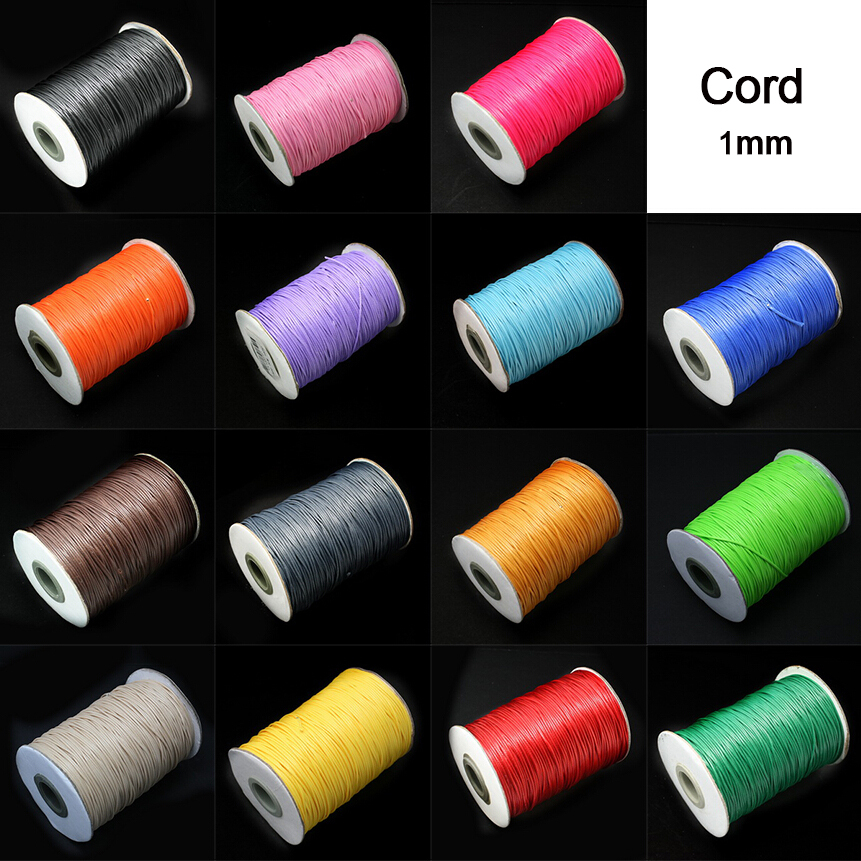 Hot <font><b>15</b></font> meters 1MM Waxed <font><b>Thread</b></font> Cotton Cord String <font><b>Beads</b></font> Strap Jewelry Findings Necklace Rope for DIY Necklace Bracelet Making image