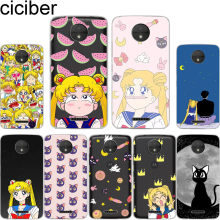 Ciciber untuk Motorola MOTO C Z2 Z3 Satu G4 G5 G5S G6 P30 E3 E4 E5 Plus Bermain Power X4 M Soft Clear TPU Ponsel Case Sailor Moon Cat(China)