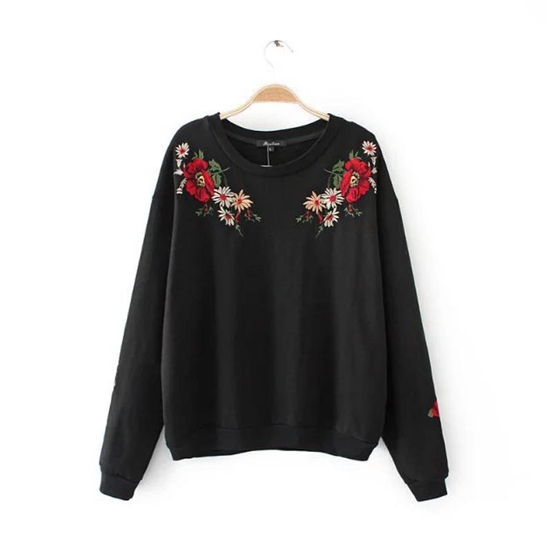 X893 women fashion red floral embroidery black gray color o neck long sleeve casual long sleeve sweatshirt hoodie streetwear top