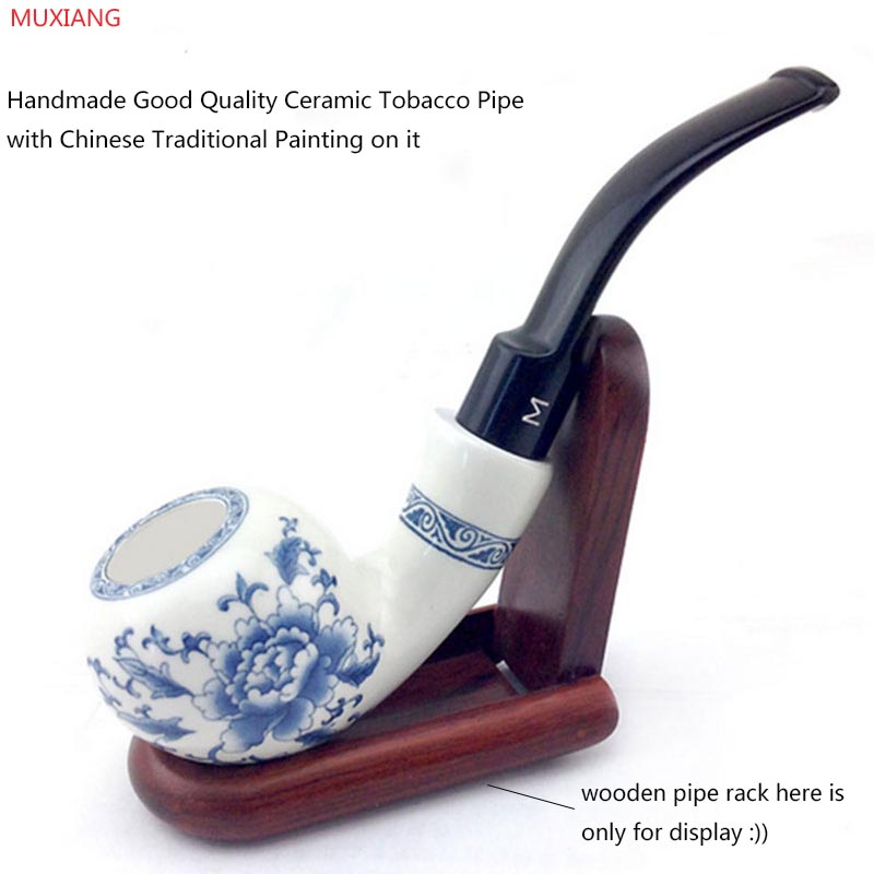 MUXIANG Handmade Ceramic Pipe Bending Type Blue and White Porcelain Smoking Pipe Double Insulation Clay Fugu Tobacco Pipe an0001
