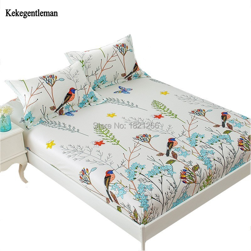 Floral Bird Print Fitted Sheet 100% Cotton Fitted Bed Sheet with Elastic Twin Full Queen Mattress Cover not include Pillowcase