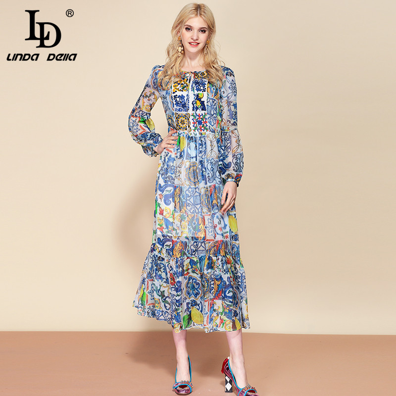 LD LINDA DELLA Fashion Runway Summer Ruffles Chiffon Dress Women s Casual blue White Floral Print