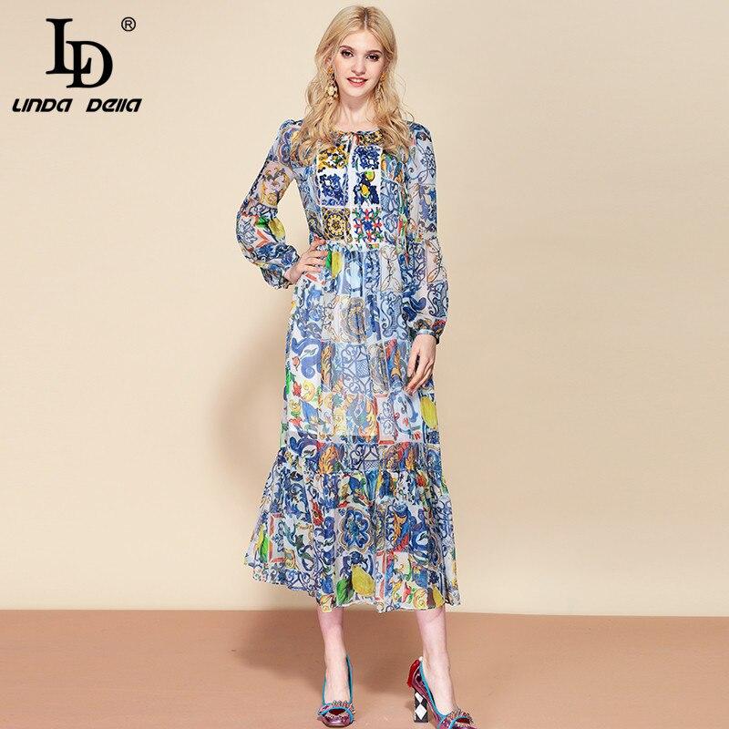 LD LINDA DELLA moda Runway lato Ruffles szyfonowa sukienka damska na co dzień niebieski biały kwiatowy Print haft wakacje długa sukienka w Suknie od Odzież damska na  Grupa 1