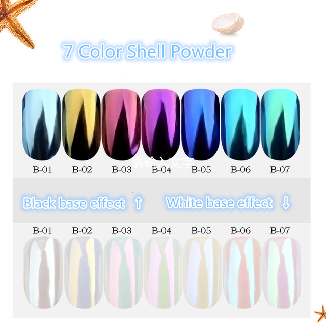 1 box Pearl Shell Chameleon Mirror Nail Powder Glitters DIY Shell Nail Art Chrome Pigment Dust Manicure Decoration