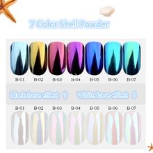 1 pudełko Pearl Shell kameleon lustro paznokci proszek Glitters DIY Shell Nail Art chrom pigment Dust manicure dekoracji tanie tanio Z MANZILIN NG-B01-A Proszek powłoki 1 pudełko i Brokat do paznokci