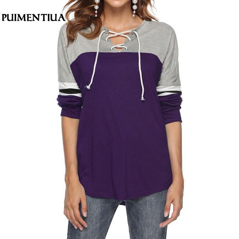 Puimentiua 2018 Sexy v-образным вырезом бинты Для женщин пуловер осень лоскутный свитер женский Harajuku Толстовка Плюс Размеры