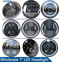 7 Inch Motorbike Accessories LED Headlight DRL Angel Eye Headlamp Harley Softail Touring Trike Daymaker Projector