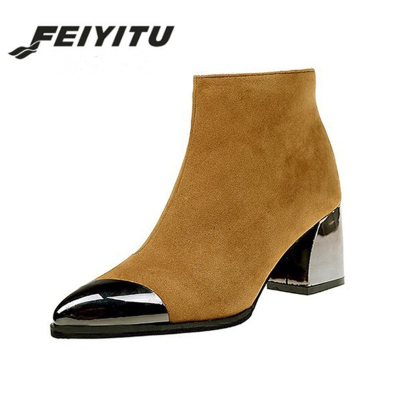 feiyitu Metal Decoration Women Boots <font><b>2018</b></font> <font><b>Sexy</b></font> Black <font><b>Shoes</b></font> Woman Pointed Toe Square Heel High Spring <font><b>Shoes</b></font> Work Zip Zapatos Muje image