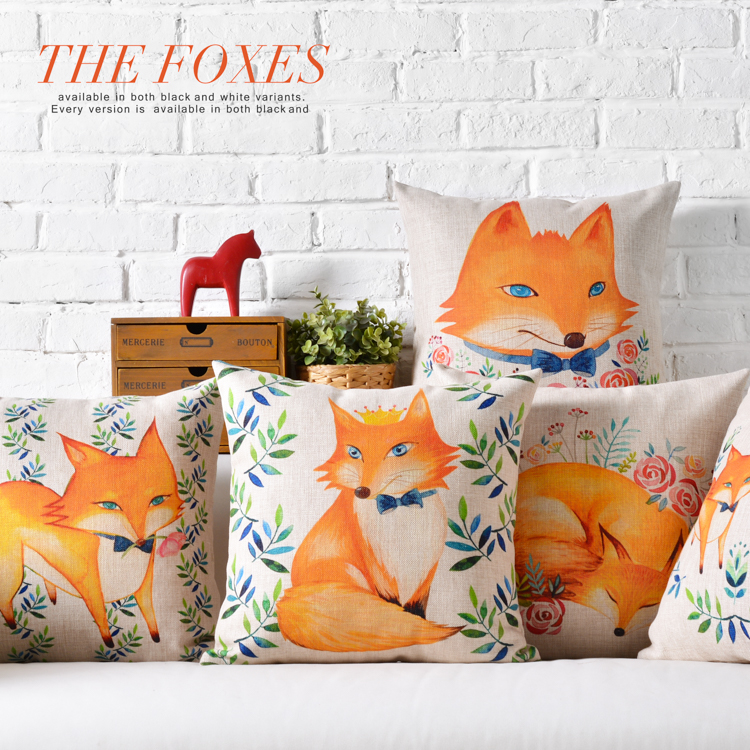 high qualtity cartoon style lovely fox home decorative cushion popular throw pillow square cotton linen almofadas - Popular Throw Pillows