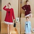 4xl más el tamaño grande de las mujeres ropa 2017 primavera otoño invierno coreano vestidos lindo vestido rojo dulce femenina A2493