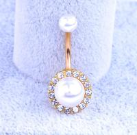 Drop Shipping Body Piercing Jewelry Women Sexy Pearl Navel Piercing Belly Button Ring navelpiercing chirurgisch staal