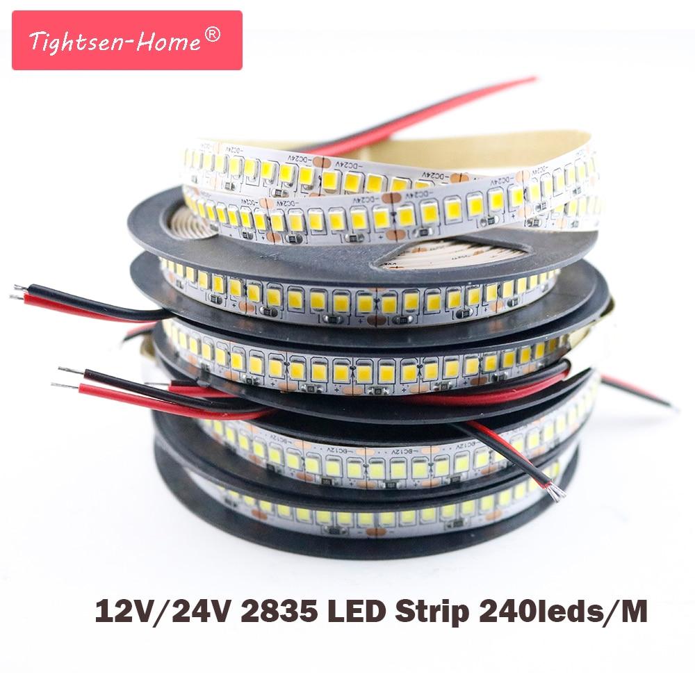 LED Strip 2835 SMD 1200 LED Chip 12V 24V LED Flexible PCB Light LED Backlight Strip LED Tape 240 LED/m White/Warm White 1M 2M 5M