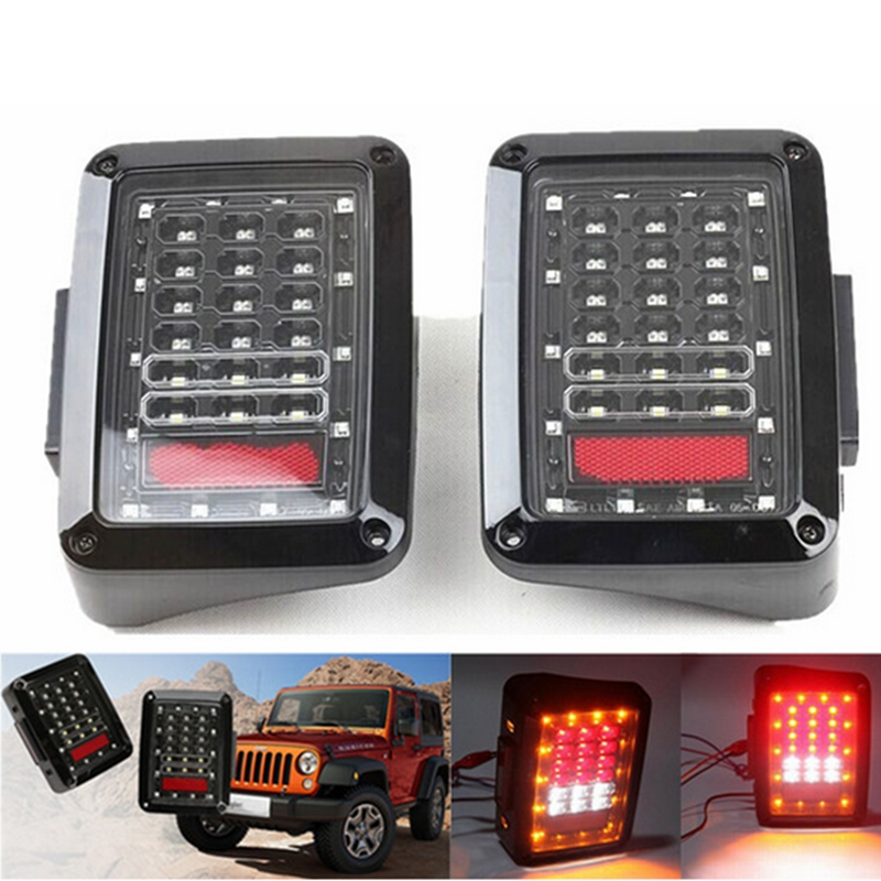 One Pair LED Tail Lights Brake Rear Signal Reverse Lamp for 07-15 Jeep Wrangler JK