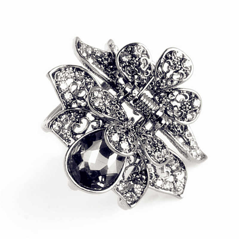 Charm lass Jewelry Hair Clip Vintage Alloy Crab Clip Multicolor Big Crystal  Flower Hair Claws For 8046374965b8